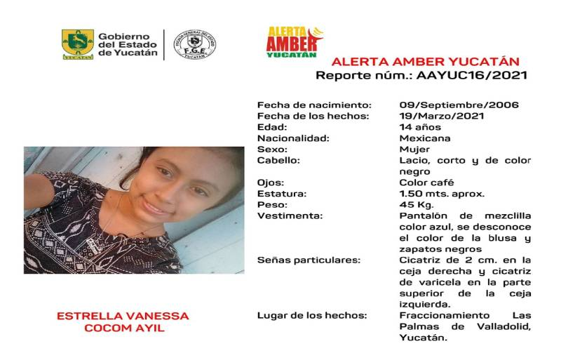 ALERTA AMBER POR ADOLESCENTE DESAPARECIDA EN VALLADOLID