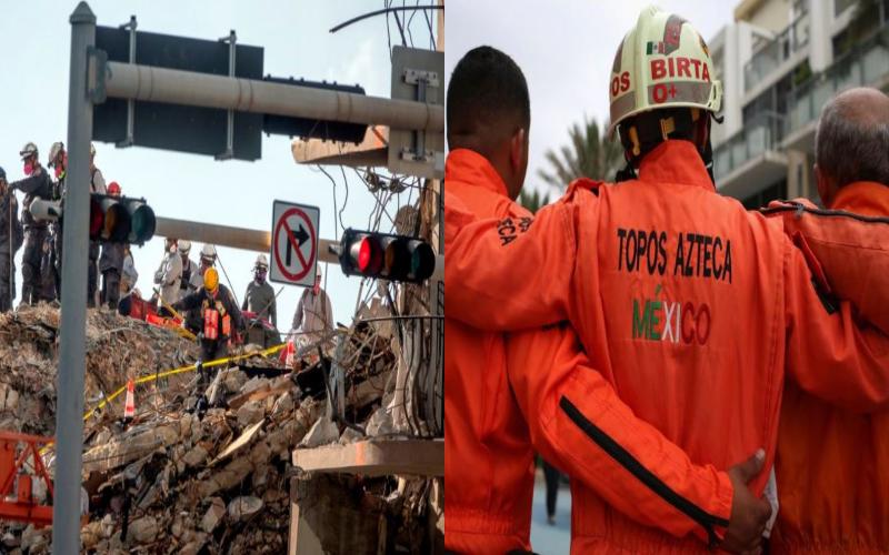 Niegan ingreso de los 'Topos' al derrumbe de hotel en Miami